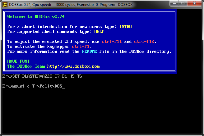 Mounting a directory as a drive in DOSBox